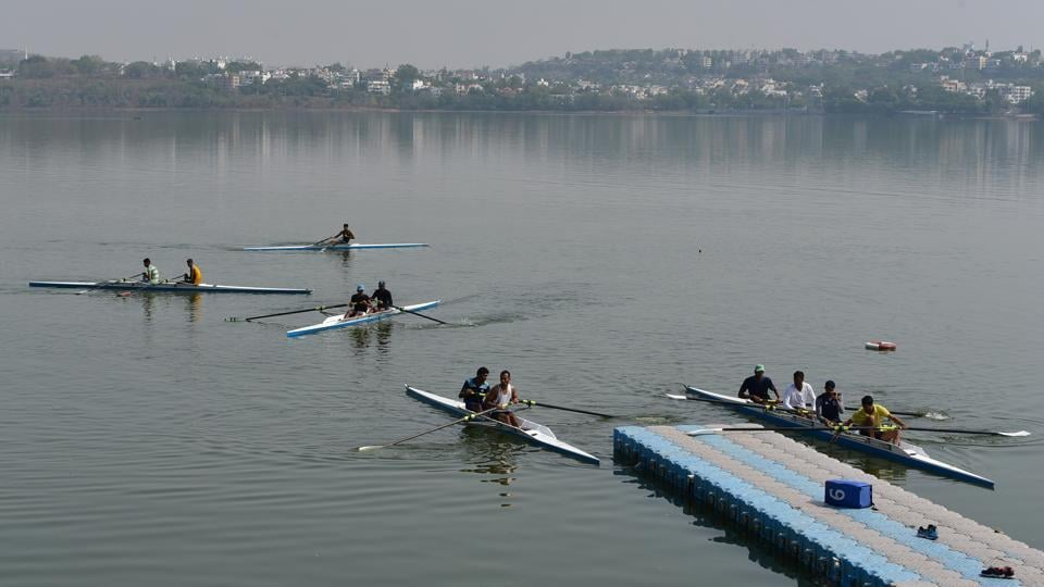 Twenty-four rowers from different part of the country are practising rigorously at a Rowing Federation of India national camp underway at the Upper Lake in Bhopal for Senior Asian Championship scheduled to be held in September at Pattaya. They spend about ten hours a day practising and hoping to fulfil the ultimate dream of clinching a medal in Olympics in the future. Water sports federations for kayaking, canoeing and rowing consider the Upper Lake weather condition as the best in India as the surrounding hills around the lake contribute to stable wind conditions and an ideal usage distance of almost five kilometres. (Mujeeb Faruqui/HT Photo)