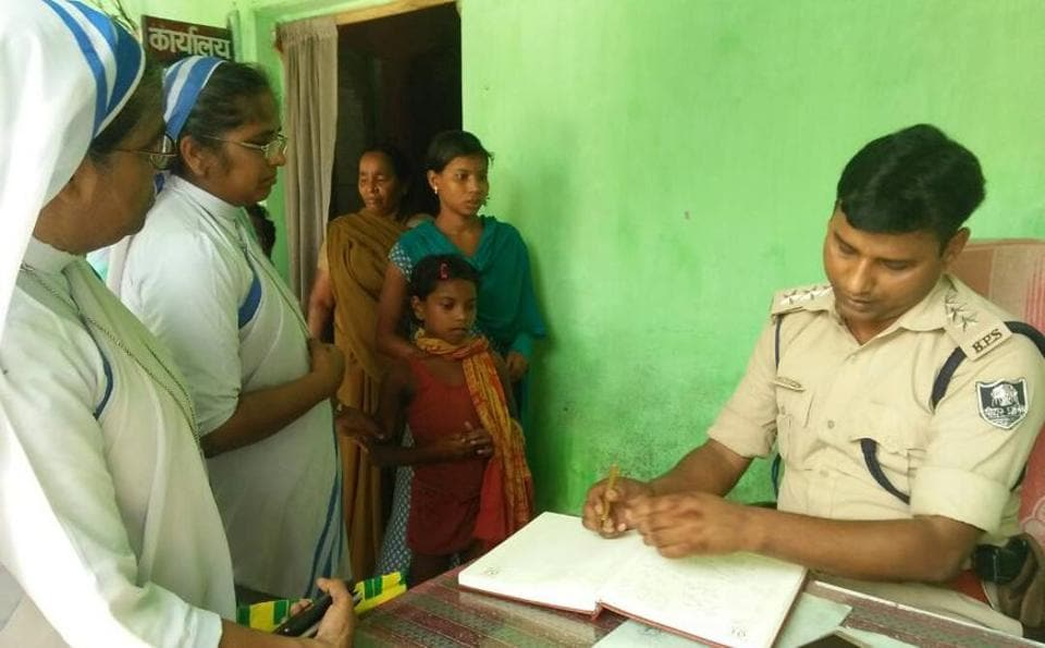 One of the rescued girls, Sonia Hembram, at a police station in Bihar's Katihar district.