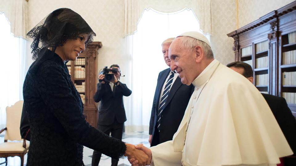 Pope Francis shakes hands with First lady Melania Trump on the occasion of their private audience, at the Vatican on May 24.