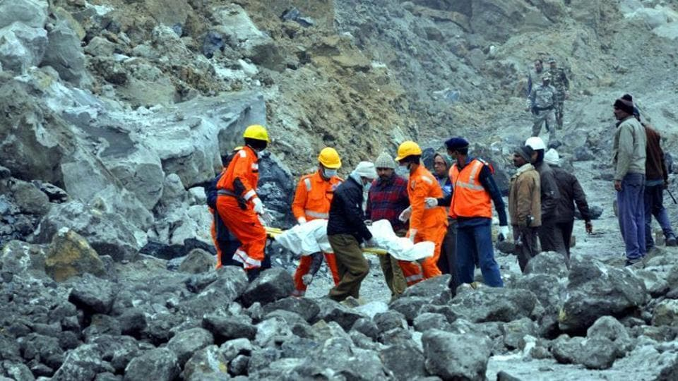 National Disaster Response Force (NDRF) men rescue trapped workers after  mines subsidence near Lalmatia in  Jharkhand in December 2016. Coal supply to NTPC's Kahalgaon plant  from Lalmatia has remained affected since the mishap.