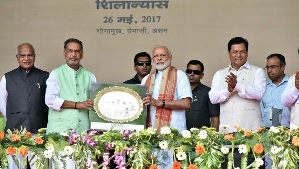 PM Narendra Modi at the ceremony to lay the Foundation Stone for Indian Agriculture Research Institute (IARI) at Gogamukh, Assam