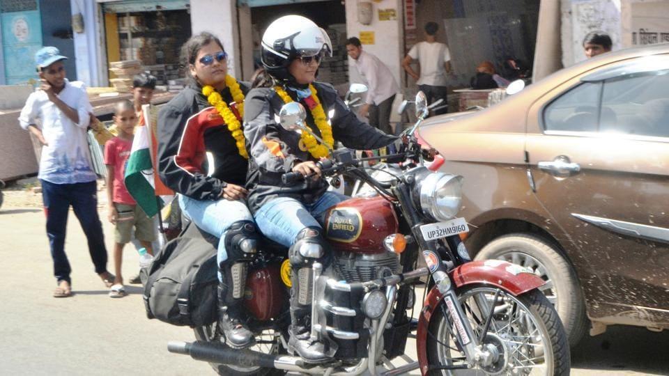 Vasudha and Karuna during their halt in Agra on Thursday.