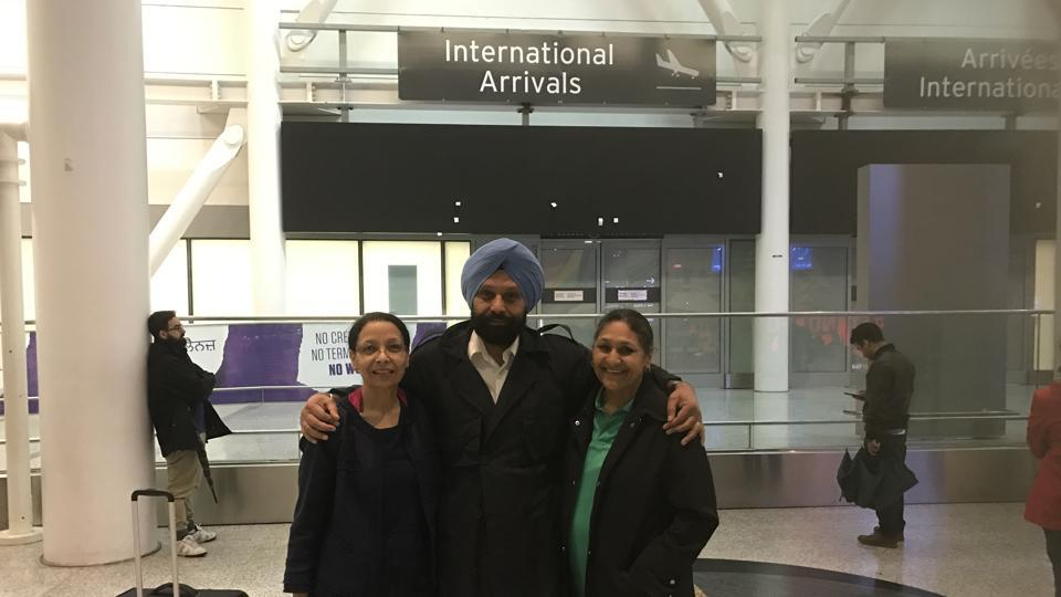 Retired CRPF officer Tejinder Singh Dhillon on his arrival at Toronto airport on Thursday, with wife Sukhprem and sister Pawan.