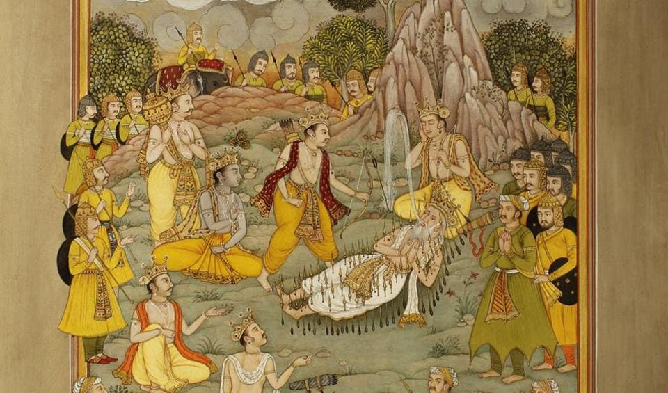 This artwork shows a scene from the Mahabharata, where Bhishma, son of Ganga, is lying on a bed of arrows.