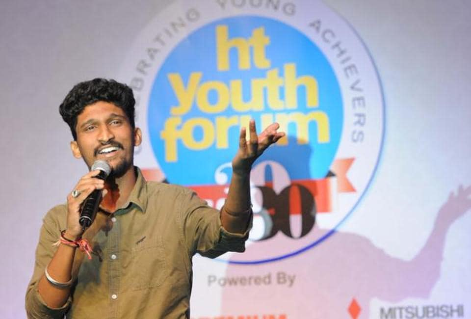 Singer Khuda Baksh, who was one of achievers at HT Youth Forum 2017, in Chandigarh on Friday. (HT Photo)