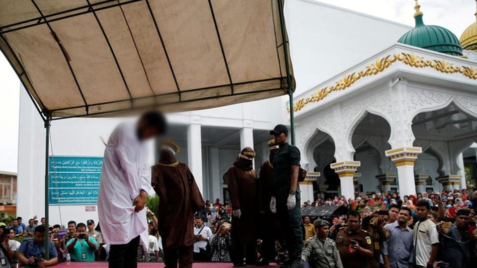 The  punishment was given outside a mosque in the provincial capital of Banda Aceh. (Reuters)
