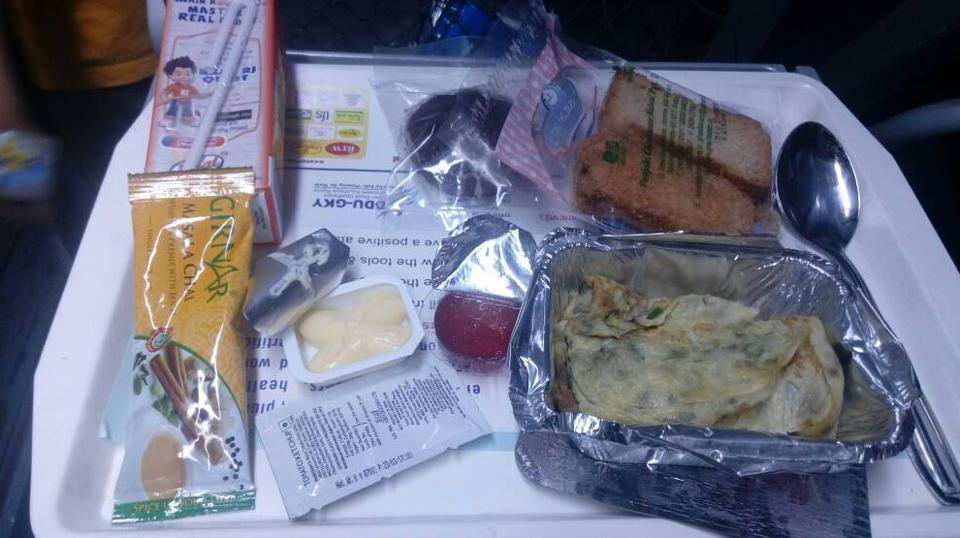 The breakfast served on board Tejas Express.