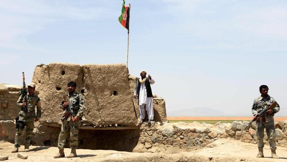 Afghan Border Police keep watch in Kandahar province.