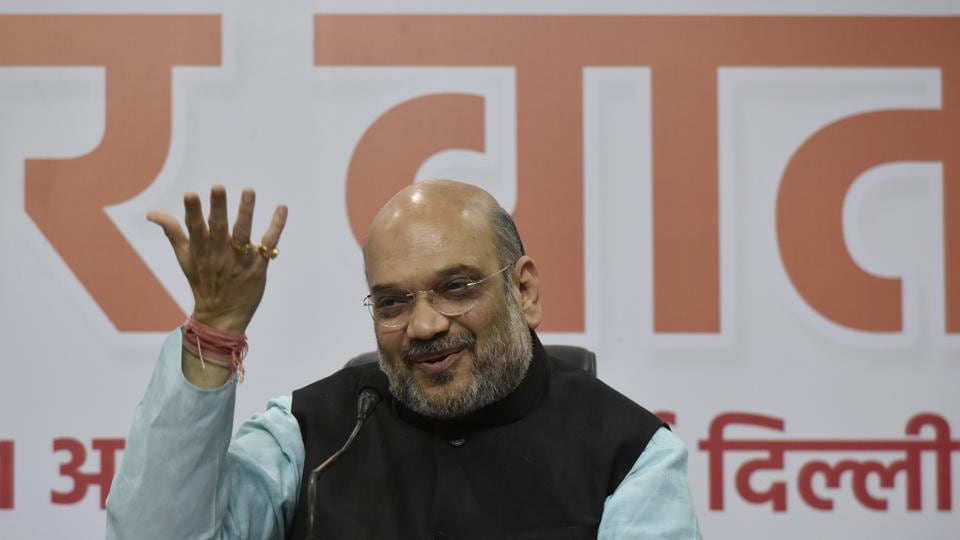 National president Amit Shah addressing the media personnel on the completion of three years of BJP Govt in centre in New Delhi, India, on Friday, May 26, 2017.