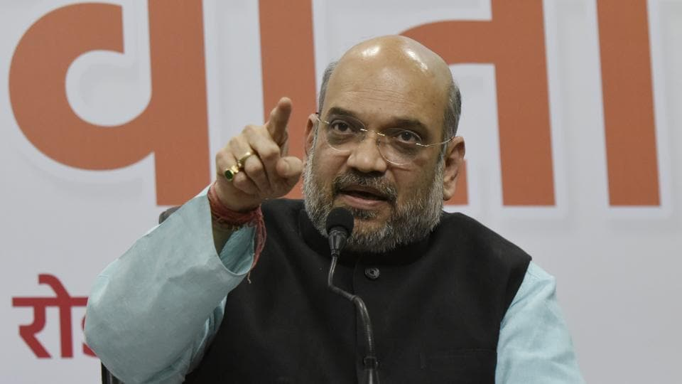 BJP president Amit Shah addresses media personnel in New Delhi on Friday on completion of three years of the BJP government.