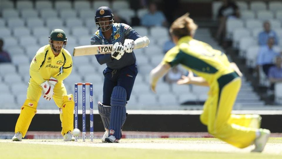 Sri Lankan skipper Angelo Mathews hits the ball past Australian leg-spinner Adam Zampa during the ICC Champions Trophy warm-up match in London on Friday. Get live cricket score of AUS vs SL here.