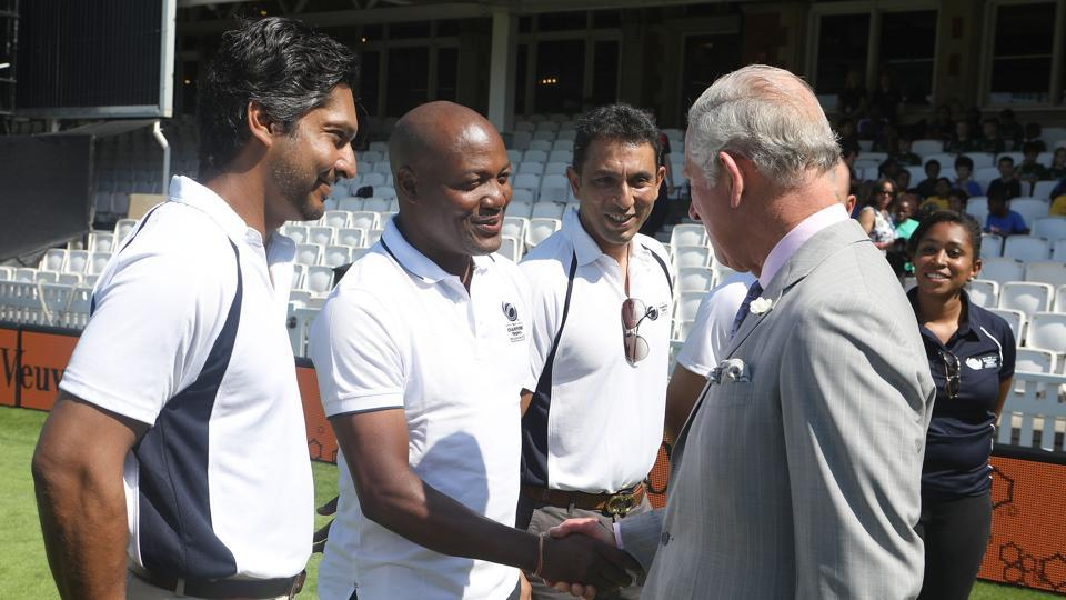 Britain's Prince Charles, Prince of Wales in conversation with Brian Lara, Kumar Sangakkara and Azhar Mahmood during the launch of the ICC Champions Trophy 2017 at the The Oval in London on May 25, 2017. (AFP)
