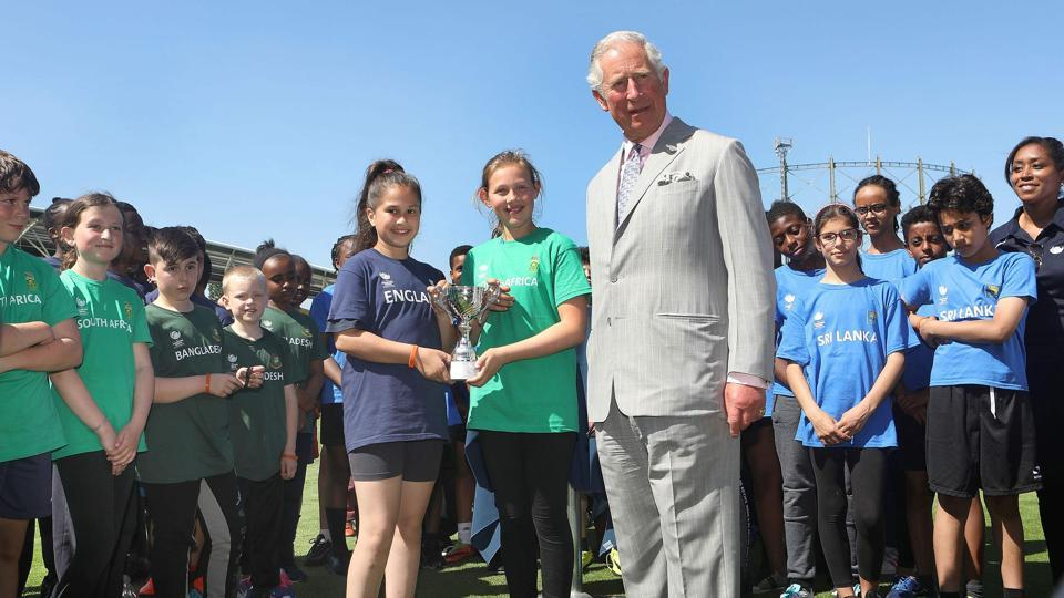 Britain's Prince Charles, Prince of Wales meets the winners of a youth cricket competition during the launch of the ICC Champions Trophy 2017 at the The Oval. (AFP)