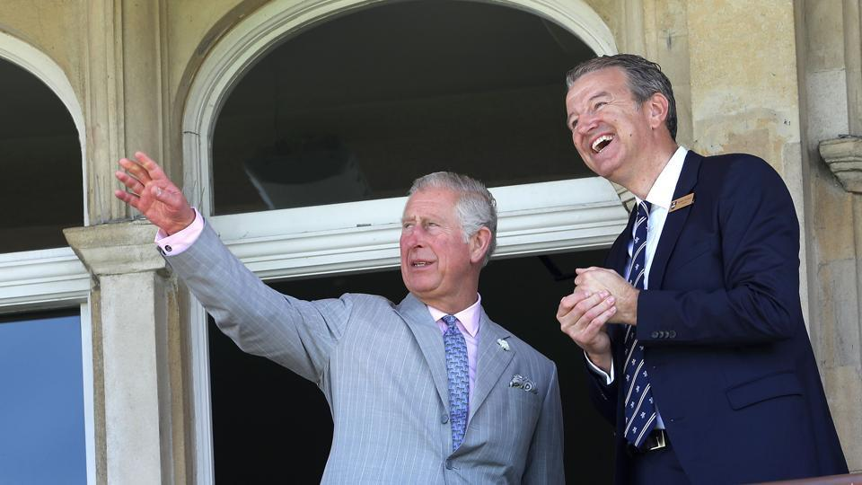 Britain's Prince Charles, Prince of Wales talks to Surrey County Cricket Club chairman, Richard Thompson (R). Surrey County Club play their matches at The Oval, London which will be a venue for the Champions Trophy. (AFP)