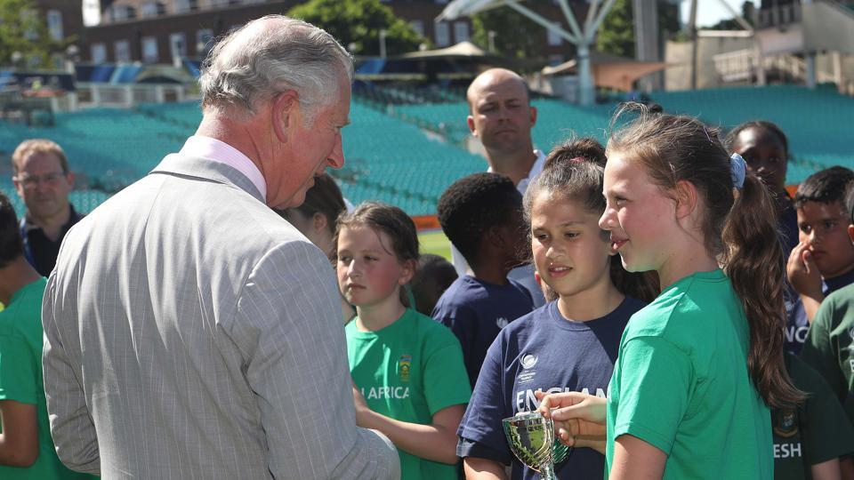 Prince Charles meets the winners of a youth cricket competition at the Oval venue. (AFP)