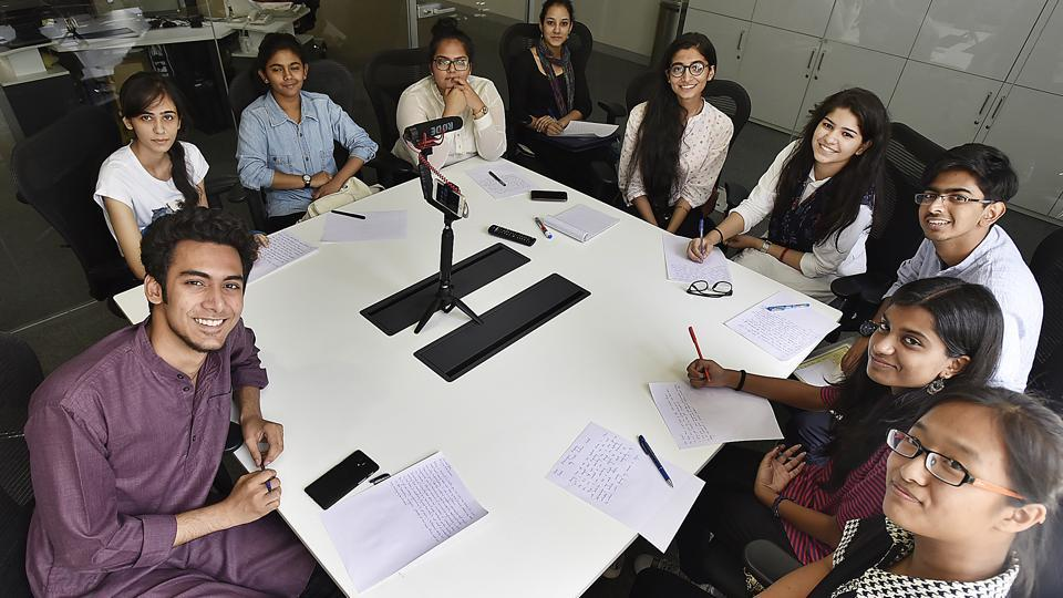 Meet HT's Campus Journalists (CJ), Batch of 2017,  as they gather for their first debate at  Hindustan Times House in New Delhi. From left, Shivam Jha from Delhi Technological University, earlier Ramjas School; behind him is Sehba Mohit  from Summer Fields School, Vrinda Saxena from Holy Child Auxilium School, Malvika Singh from Convent of Jesus and Mary; Sabika Syed from Summer Fields School; CJ  mentor Deep Samlok, BA English (Hons) first year, Lady Shri Ram College for Women;  Ramsha Khan from Jamia Senior Secondary School; Sagar Dawar from St Columba's; Remya Nair and Khuisangmi 'Khuimi' Konghay from Holy Child Auxilium School