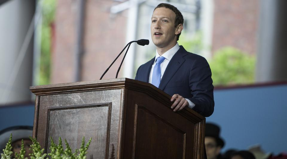 """Mark Zuckerberg speaks during Harvard University's 366th Commencement ceremony in Cambridge. """"To keep our society moving forward, we have a generational challenge — to not only create new jobs, but create a renewed sense of purpose,"""" the Facebook chief said."""