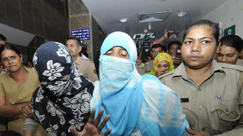 The victims at the Noida district hospital after a medical examination on Thursday.
