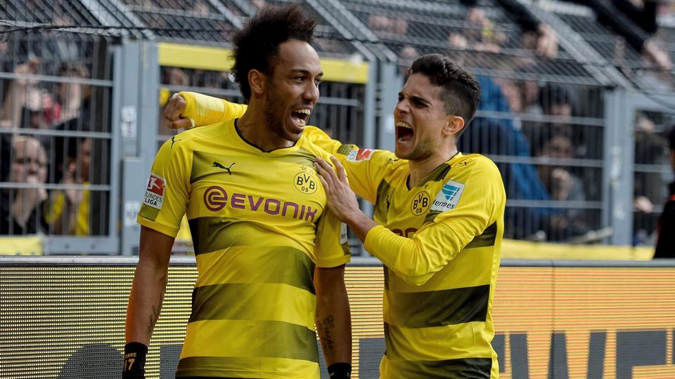 Pierre-Emerick Aubameyang (L) will be looking to win his first German Cup title with Borussia Dortmund.