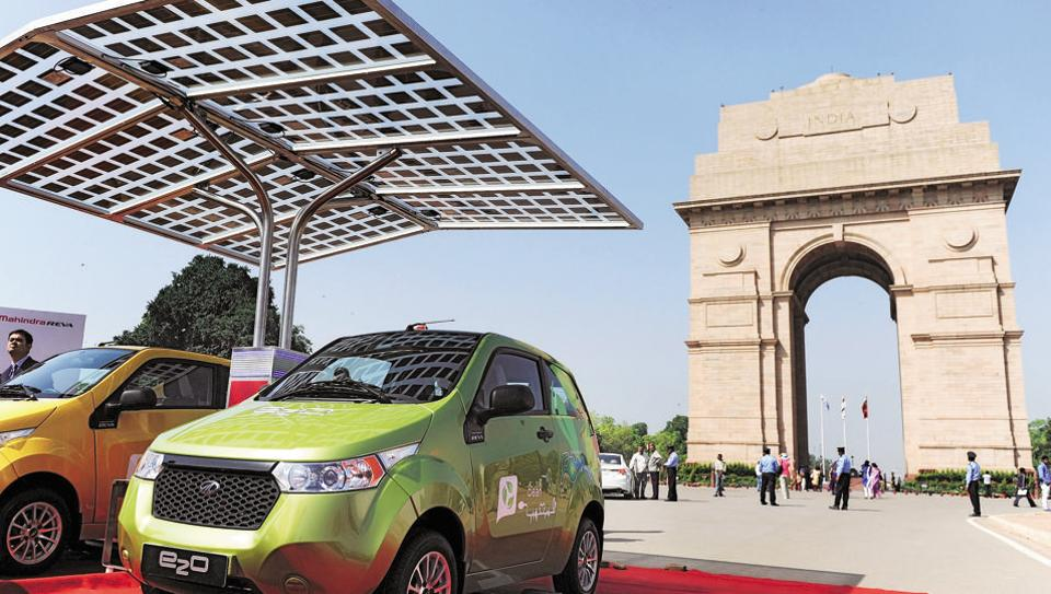 Mahindra e2o electric cars on display near India Gate in New Delhi.