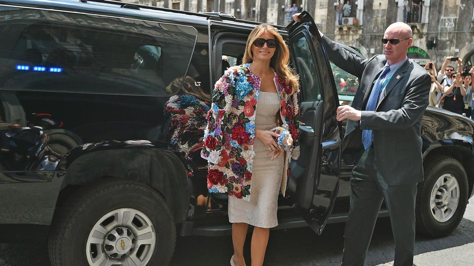 US First Lady Melania Trump arrives for a visit at the Chierici Palace City Hall of Catania on the sidelines of a G7 summit of the Heads of State and of Government in Taormina, on May 26, 2017 in Sicily.