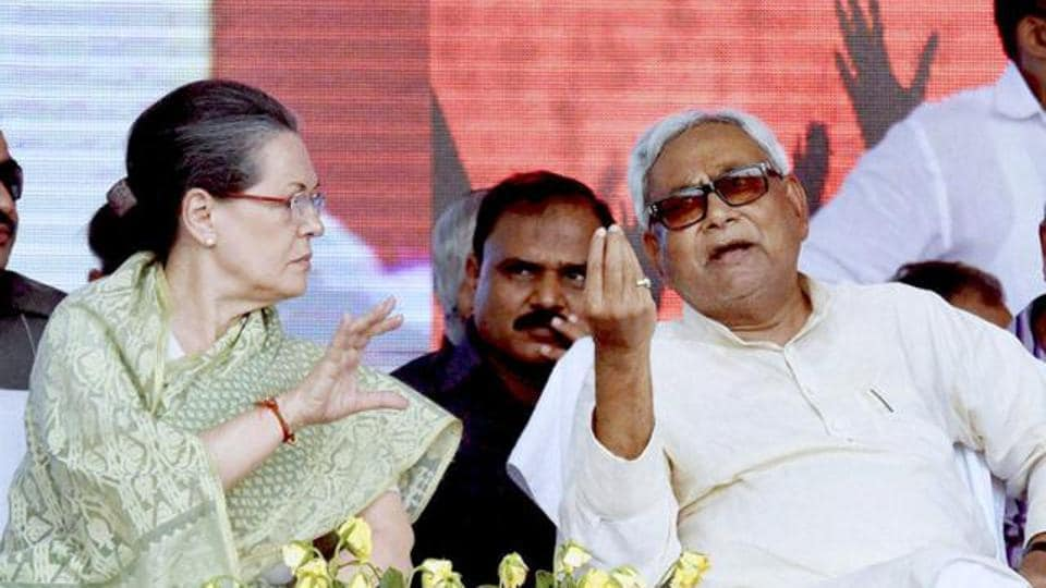 Congress president Sonia Gandhi with Bihar chief minister Nitish Kumar.