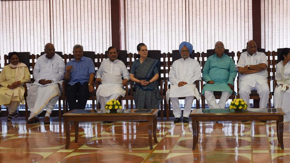 Congress president Sonia Gandhi chairing a meeting of opposition leaders in New Delhi on Friday to discuss the strategy for the upcoming Presidential election.