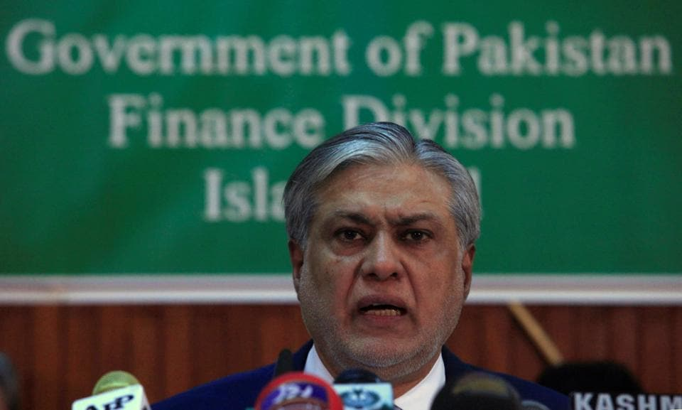Pakistan finance minister Ishaq Dar at a press conference on Thursday, a day before the budget announcement.