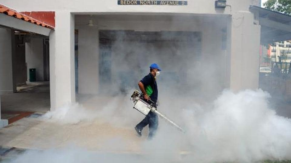 A worker sprays insecticide at a residential area in Singapore.