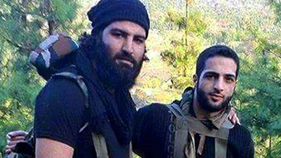 File photo of Sabzar Bhat (left), who was killed by the Indian Army in Kashmir's Tral, with Burhan Wani.