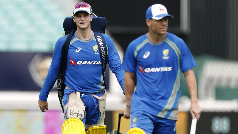 Australia's David Warner (R) and Steve Smith during net practice ahead of ICC Champions Trophy.