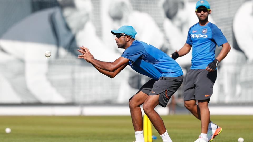 India's Ravichandran Ashwin takes a catch during a practice session at Lord's Cricket Ground in London. (AFP)