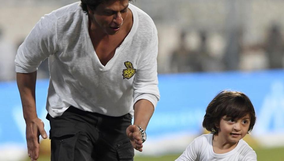 Shah Rukh Khan along with his son Abram Khan after the 2017 Indian Premier League (IPL) Twenty20 cricket match between Kolkata Knight Riders and Mumbai Indians at The Eden Gardens Cricket Stadium in Kolkata on May 13.