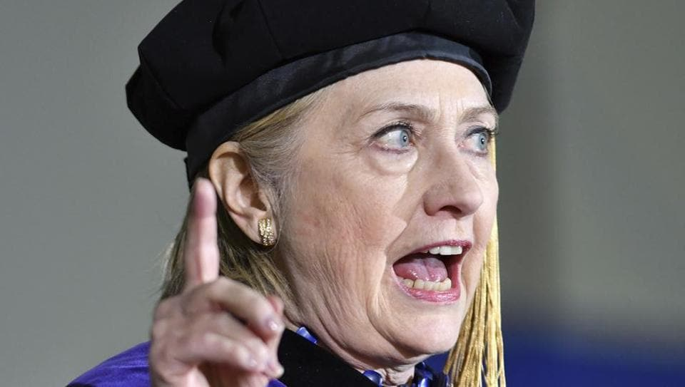 Former US secretary of state Hillary Clinton delivers the commencement address at Wellesley College on Friday.