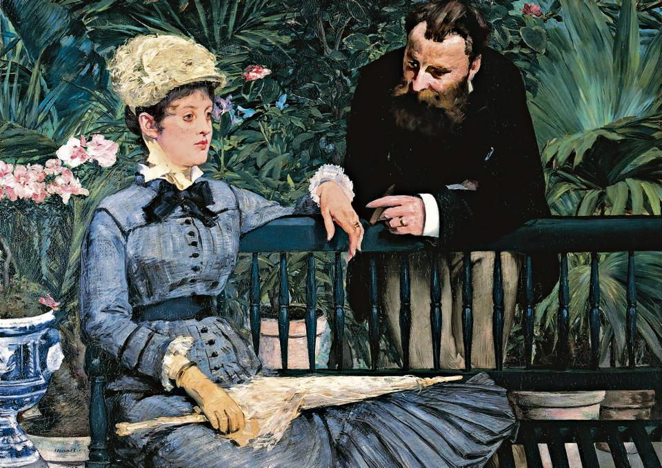 Lessons for the young wife: Madame Manet in the greenhouse, by Edouard Manet (1832-1883).
