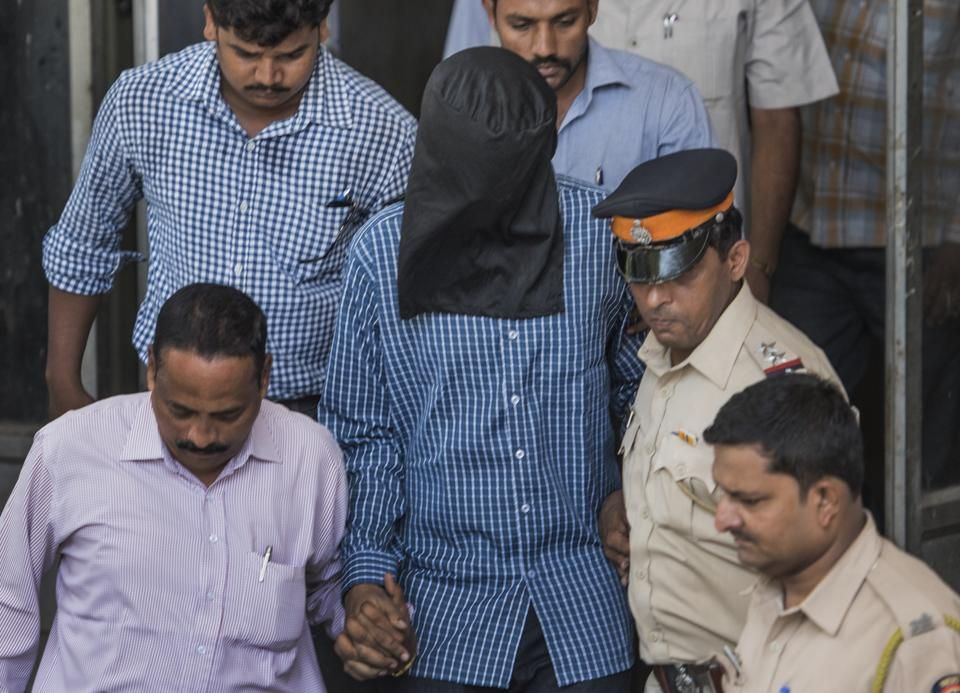 Siddhant Ganore at a Bandra court after allegedly stabbing his mother at their house in Santacruz.