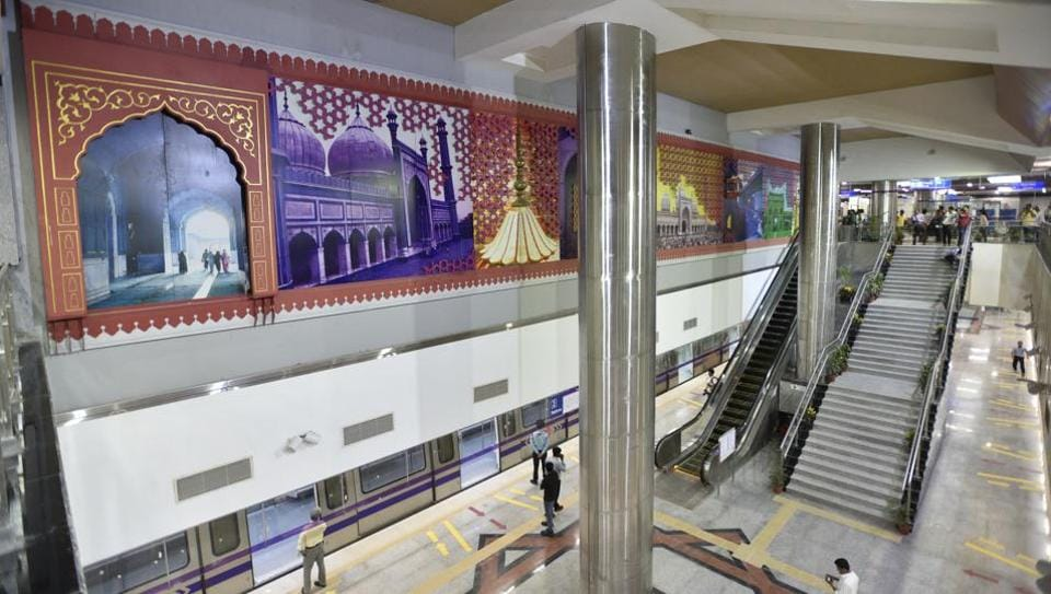 The theme of the Jama Masjid station, which will open for public use on May 28, is historical and the look has been accentuated with metal work and stone cladding.
