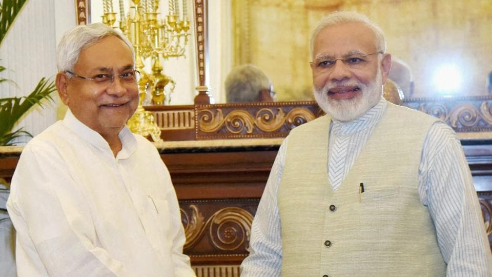Chief Minister of Bihar Nitish Kumar calls on the Prime Minister Narendra Modi in New Delhi on Friday.