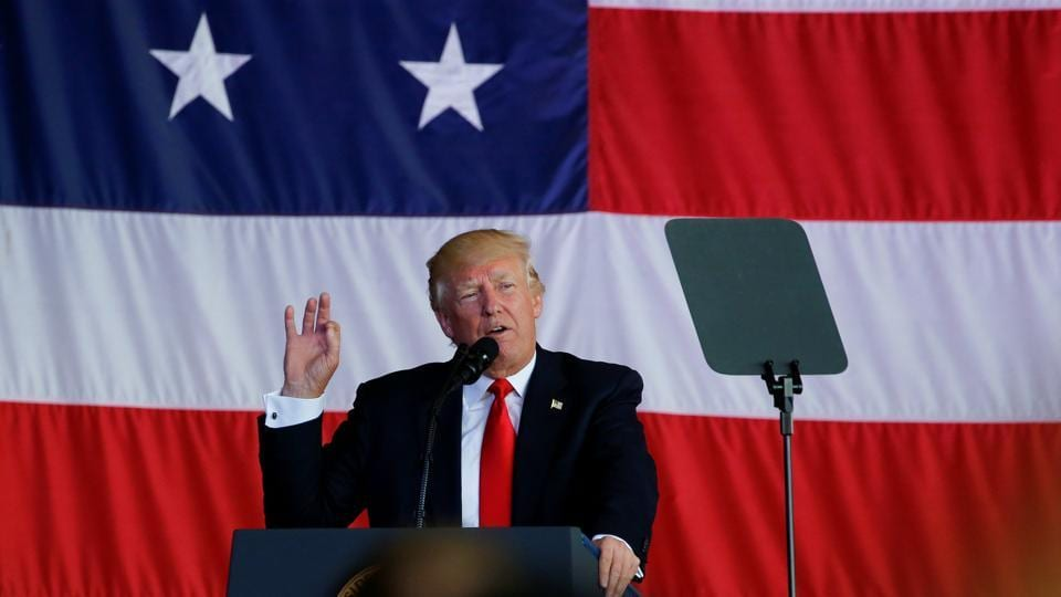 U.S. President Donald Trump delivers remarks to U.S. troops at the Naval Air Station Sigonella before returning to Washington D.C. at Sigonella Air Force Base in Sigonella, Sicily, Italy, May 27, 2017.