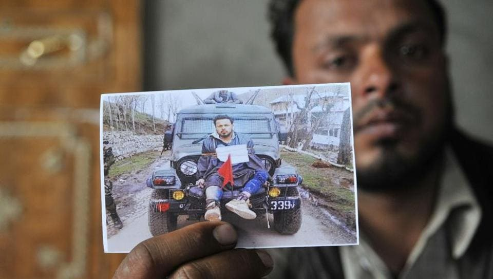 Farooq Dar, who was allegedly used as a human shield, at his home in Chill village in Budgam district of Kashmir.