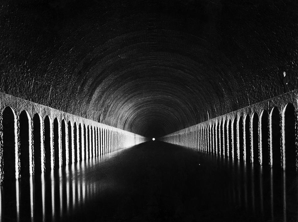 No light at the end of the tunnel? The canal at the Tunnel de Roue, near Marseilles, pictured in 1930.