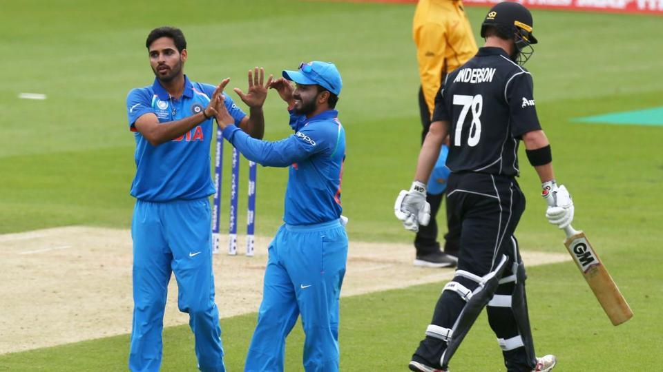 Bhuvneshwar Kumar joined the party as he got rid of Corey Anderson to leave NZ in all sorts of trouble.  (AFP )