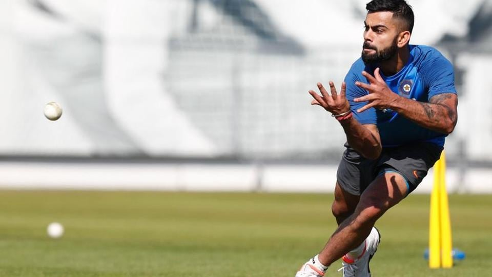 Indian cricket team skipper Virat Kohli performs fielding drills during a training session at the Lord's on Saturday, a day before their ICCChampions Trophy 2017 warm-up match against New Zealand cricket team.