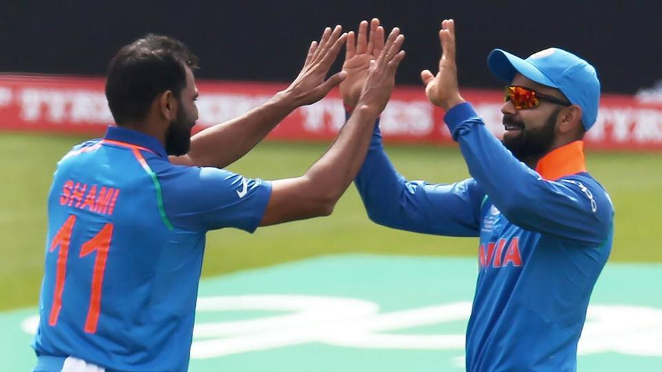 Bhuvneshwar Kumar and Mohammed Shami took three wickets each while Ravindra Jadeja grabbed two.  (AFP )
