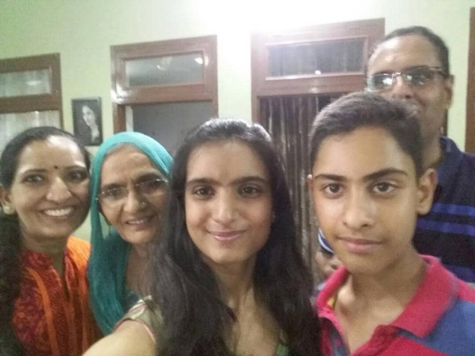 Bhoomi Sawant, (Centre) second all-India rank holder in the CBSE Class 12 Boards with her grandmother, parents and brother.