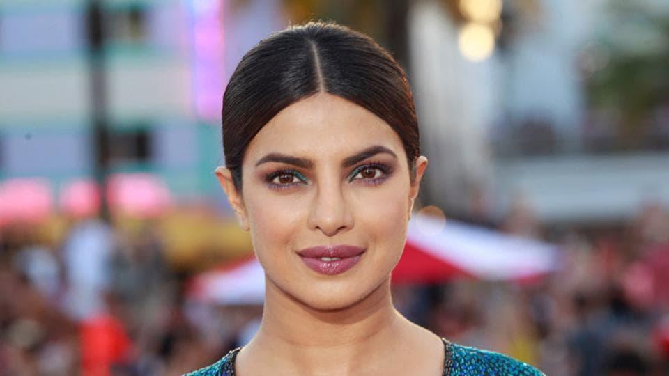 Cast member Priyanka Chopra poses at the premiere of the film Baywatch in Miami Beach.