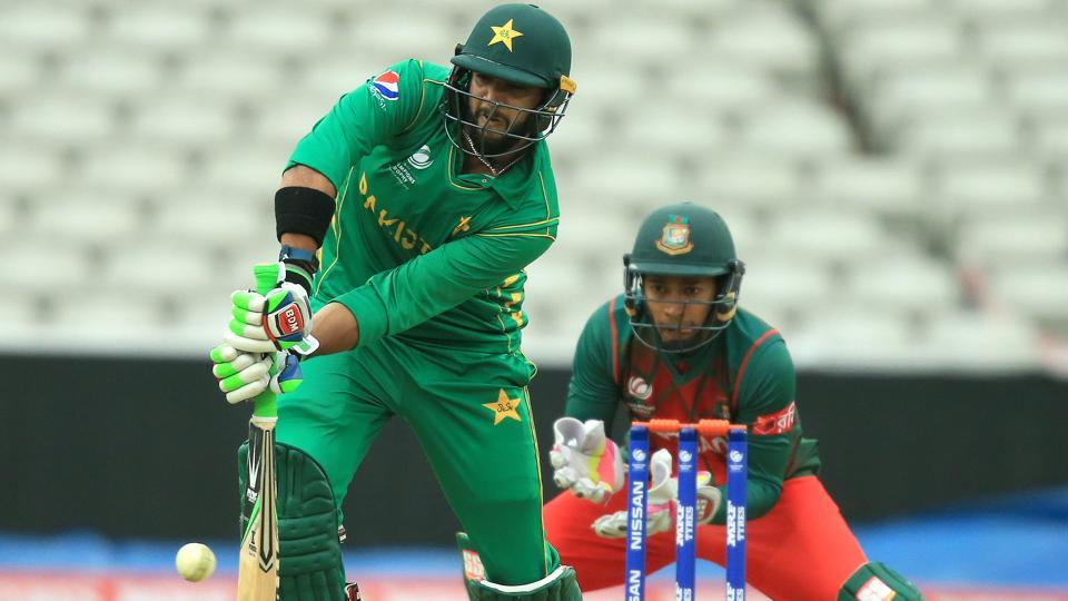 Pakistan batsman Imad Wasim plays a shot during an ICC Champions Trophy Warm-up match between Pakistan and Bangladesh.