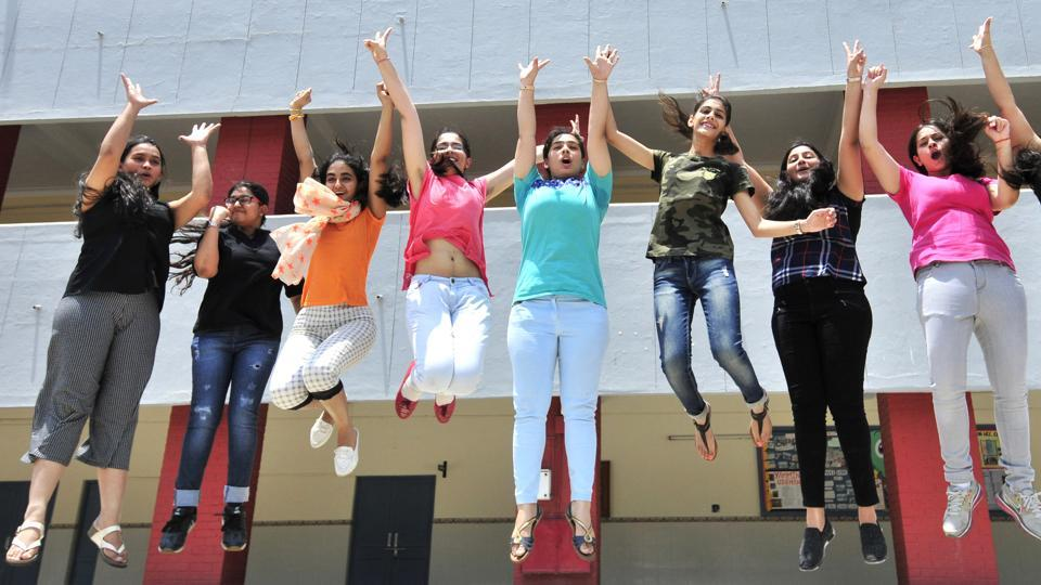 Students of Mount Carmel School in Sector 9, Chandigarh celebrating their  success after  results of CBSE Class 12 were declared on Sunday.  (Ravi Kumar/HT)