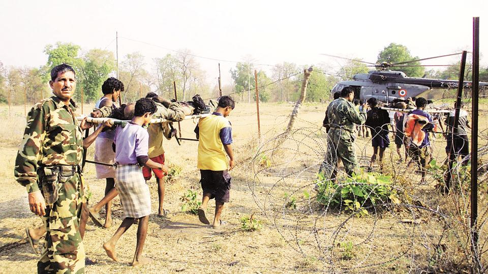 Injured paramilitary personnel being evacuated after a Maoist attack in Jagdalpur, Chhattisgarh.
