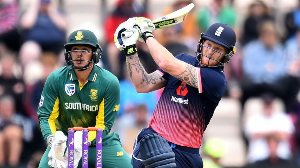 England cricket team's Ben Stokes hits a boundary during his century against South Africa cricket team in the second ODIin Southampton on Saturday. With the victory in the match, England sealed the three-match series which is virtually a warm-up for both the sides for the ICCChampions Trophy 2017.